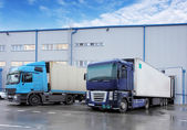 Freight Transportation - Truck in the warehouse — Stock Photo