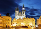 Prague Old town square, Tyn Cathedral — Foto de Stock