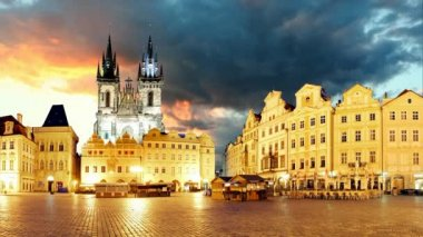 Prague Old town square, time lapse — Stock Video
