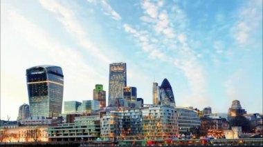 London Skylines at sunset, time lapse, UK — Stock Video