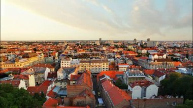 Zagreb cityspace at sunset - time lapse — Vidéo