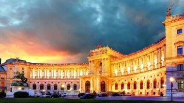 Vienna at sunrise - Hofburg, time lapse — Stock Video
