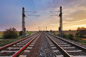 Railway at sunset — Stock Photo