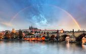 Rainbow over Prague castle, Czech republic — Stock Photo