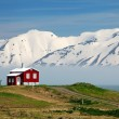 Iceland landscape. Fjord Eyjafjordur, house, mountains — Stock Photo