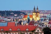 Prague cityscape with cathedral — Stock Photo