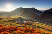 Autumn village in Slovakia countryside — Stock Photo