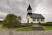 Beauty wooden Pingvallkirkja church - Iceland — Stock Photo