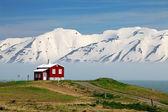 Iceland  landscape. Fjord Eyjafjordur, house, mountains — Foto Stock