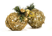 Two wattle christmas tree decoration without background — Stock Photo
