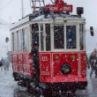 Stock Photo: Cable car passing through heavy snow storm