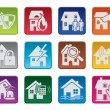 Colorful house security icons — Stock Vector