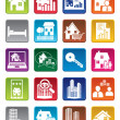 Colorful real estate icons — Stock Vector