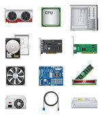 Computer parts icon set — Stock Vector