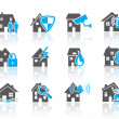 House security icons-blue — Stock Vector