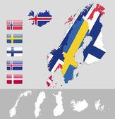 North Europe,Scandinavia — Stok Vektör