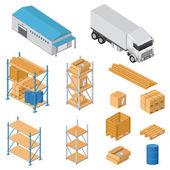 Warehouse equipment icons — Stock Vector