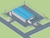 Isometric Warehouse — Stock Vector