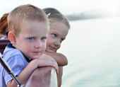 Children on a boat — Stock Photo