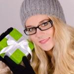 Christmas Girl in santa claus clothes — Stock Photo
