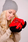 Christmas Girl in santa claus clothes — Stock Photo