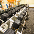 Dumbbells and weights in fitness club — Stock Photo