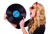 Pin up girl with vinyl — Stock Photo