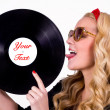 Stock Photo: Retro girl with vinyl LP