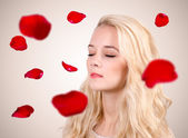 Flying rose petals — Stock Photo