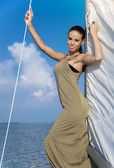 Beautiful woman in a boat — Stock Photo