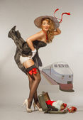 Pin up girl on a platform — Stock Photo