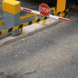 Public car parking entrance barrier — Stock Photo