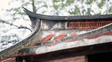 Part of Chinese roof in a rainy weather — Stock Video #18049137