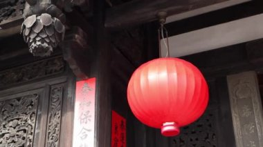 Red Lantern Hanging on the main entrance to the Lin An Tai Main Building — Stock Video