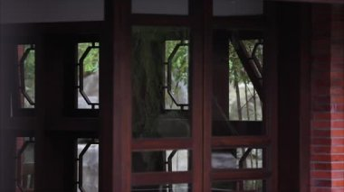 Part of an old building in Lin An Tai (Taipei, Taiwan). Traditional Chinese architecture, windows and doors with glass with some reflections.
