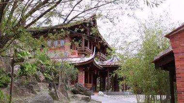 The back garden of Lin An Tai Historical house — Stock Video