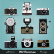 Stock Vector: Vintage Camera Set