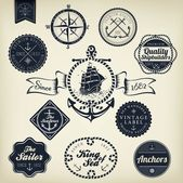 Set Of Vintage Retro Nautical Badges And Labels — Cтоковый вектор