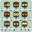Funny Vector Owl Set - Stock Photo