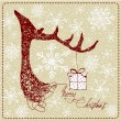 Hand Drawn Vintage Deer Christmas Card — Stock Photo