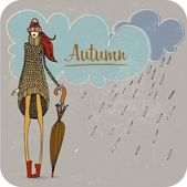 Hand Drawn Autumn Girl — Stock Photo