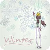 Hand Drawn Winter Girl — Stock Photo