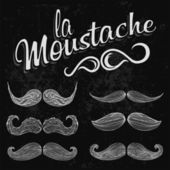 Hand Drawn White Mustache Set — Stock Photo
