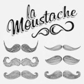 Hand Drawn Black Mustache Set — Stock Photo