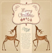 Hand Drawn Vintage Christmas Card — Stock Photo