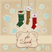 Doodle Textured Christmas Socks — Stock Photo