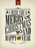 Vintage Christmas And Happy New Year Background With Typography — ストック写真