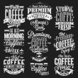 Set Of Vintage Retro Coffee Labels On Chalkboard - Stock Photo