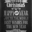 Vintage Merry Christmas And Happy New Year Calligraphic And Typographic Background With Chalk Word Art On Blackboard — Stock Photo #19611985