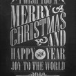Vintage Merry Christmas And Happy New Year Calligraphic And Typographic Background With Chalk Word Art On Blackboard — Stock Photo #19613631
